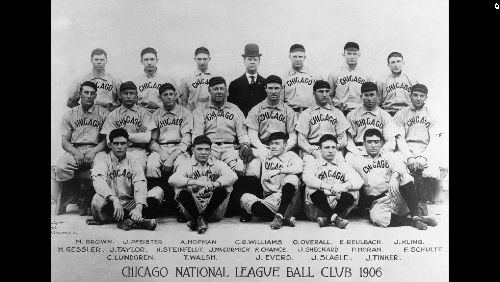 "Chicago's National League baseball team started out as the White Stockings in 1876 before a newspaper's nickname prevailed and the team adopted the ""Cubs"" nickname. A shortened version of their old name went to the American League team in Chicago, and the two teams played each other in an all-Chicago World Series in 1906. The White Sox won."