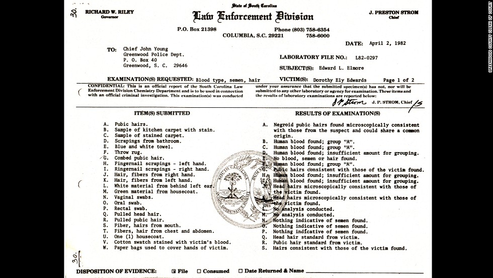 "This police list suggests that key evidence was lost or hidden. Item ""T"" included ""fibers"" and ""hairs"" collected from Edwards' body but never introduced as trial evidence. More than a decade later, a state investigator found item ""T"" in the back of a desk drawer. New analysis showed that item T included a ""Caucasian hair"" that did not belong to Edwards or Elmore."