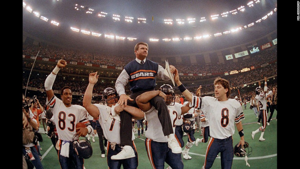 "Former Chicago Bears head coach Mike Ditka (center) is also endorsing Trump. ""I do like Donald Trump. I think sometimes he's gotta think a little bit more before he says things, but I think he's on the right track,"" he told the Chicago Sun-Times."