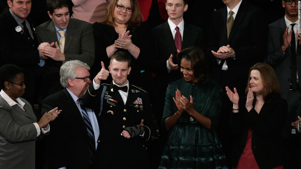 On January 28, 2014, Remsburg and his father, Craig, were special guests at the State of the Union Address, sitting beside first lady Michelle Obama.  Toward the end of Obama's address, he acknowledged Remsburg, followed by a standing ovation from all of Congress that went on for nearly two full minutes.