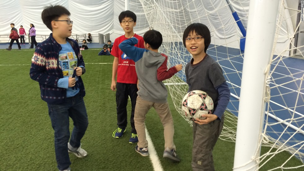 Soccer practice is held on artificial turf under the dome.
