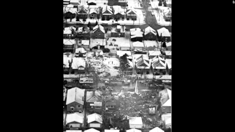 United Airlines Flight 553 plowed through a row of bungalows and burst into flames about a mile and a half south of Chicago's Midway Airport on December 8, 1972. The crash killed 45 people, two of them on the ground. Eighteen passengers survived. Investigators later ruled that pilot error caused the crash.