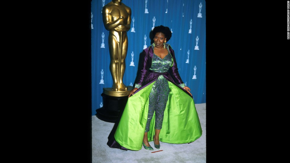 "Sometimes we think Whoopi Goldberg intentionally trolls fashion lovers with her red-carpet outfits. In 1993, the Oscar winner -- she'd previously picked up the best supporting actress award for ""Ghost"" in 1991 -- arrived in a get-up that appeared to take Demi Moore's 1989 look and kick it up a notch with full-length pants, a full skirt and as much neon as possible."