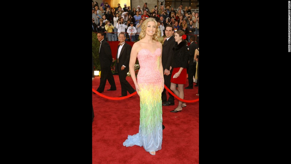 We've looked at Faith Hill in this multicolored frock multiple times, and the urge for a bowl of rainbow sherbet never goes away.
