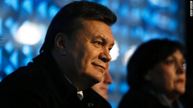 Ukrainian President Viktor Yanukovych watches the opening ceremony of the Sochi 2014 Winter Olympics at the Fisht Olympic Stadium on February 7, 2014 in Sochi, Russia.