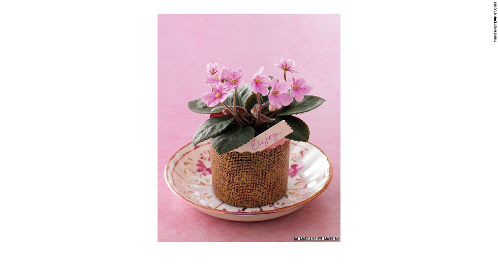 Potted plants make great centerpieces and make a great parting gift for guests.