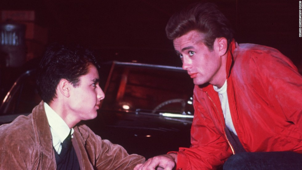 "<strong>""Rebel Without a Cause"" (1955)</strong>: Sal Mineo, left, and James Dean appear in a scene from the film about a rebellious youth who moves to a new area and breaks the rules. The movie was released after Dean's death in a car crash."