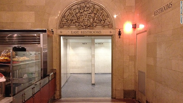 This is the entrance to the downstairs public bathrooms at Grand Central. They're perfectly adequate, but with a slight odor of asparagus.