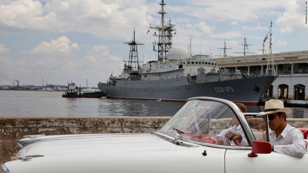 A Russian warship docks at a harbor in Havana, Cuba, on Thursday, February 27, a day after Russia's defense minister announced plans to expand the country's worldwide military presence. The Vishnya-class ship is generally used for intelligence gathering.