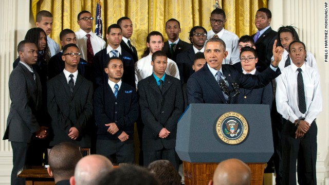 "President Barack Obama gestures during an event in the East Room of the White House to promote his ""My Brother's Keeper"" initiative, on Thursday, Feb. 27, 2014, in Washington. Joined at the White House by young men of color, Obama called on America's businesses, philanthropists and government leaders to join forces to put more boys on a path toward successful lives. Foundations were to announce pledges to spend at least $200 million over five years to promote that goal as Obama launches his ""My Brother's Keeper"" initiative. (AP Photo/Pablo Martinez Monsivais)"