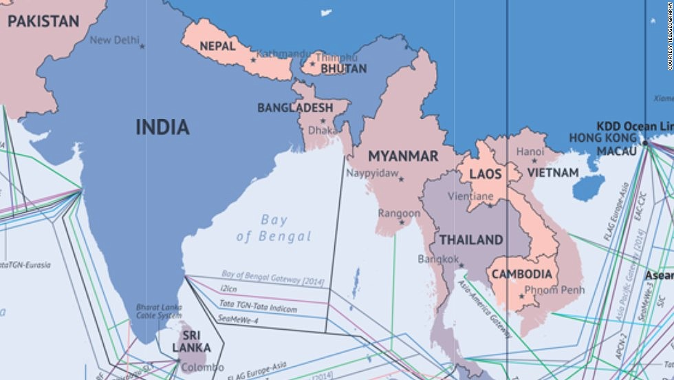 What the Internet looks like Undersea cables wiring ends of the Earth