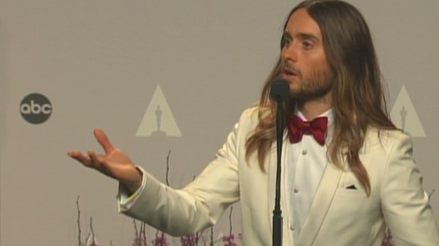 Leto backstage after Oscar win