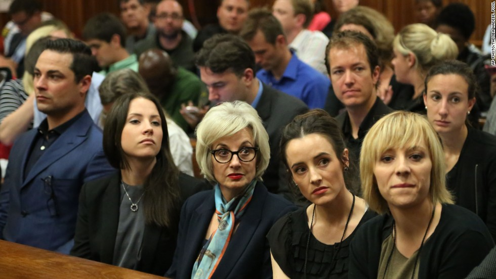 Pistorius' relatives wait inside the courtroom on March 3.
