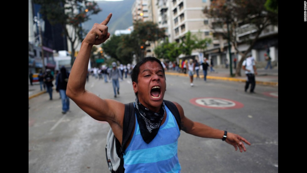 A protester shouts during clashes with government forces in Caracas on March 2.