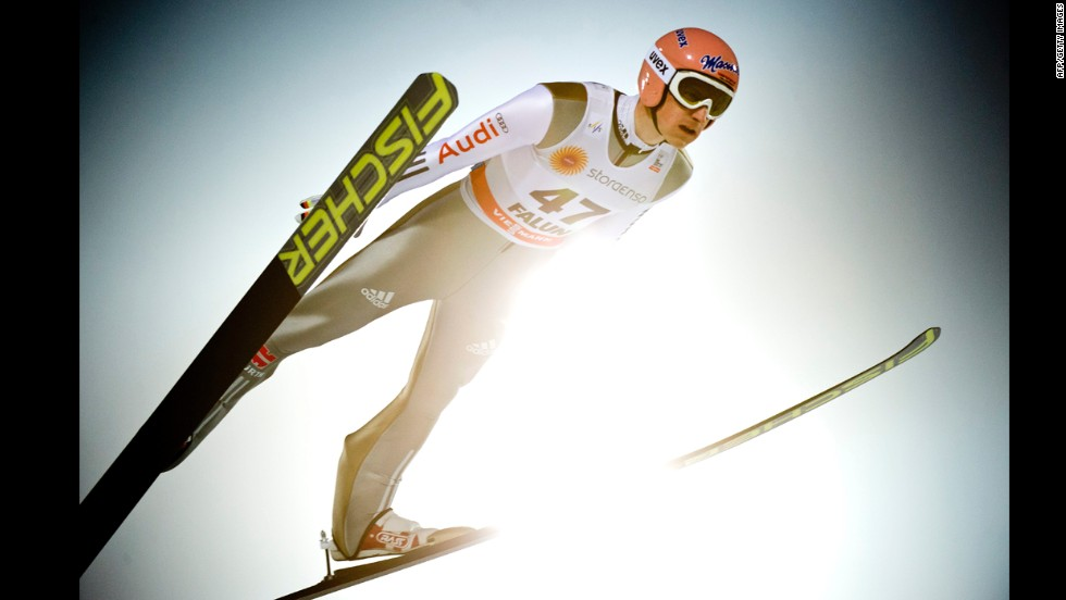 Ski jumper Severin Freund jumps during a World Cup competition in Falun, Sweden, on Wednesday, February 26.