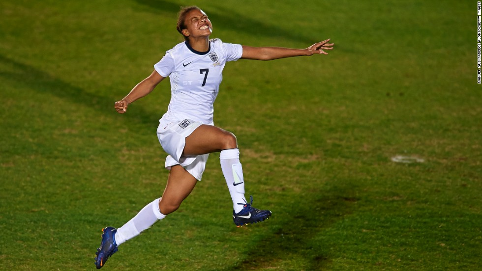 Soccer player Nikita Parris of England celebrates scoring during the U-23 friendly match against Sweden in La Manga, Spain, on Saturday, March 1.