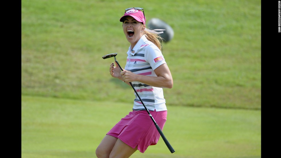 Paula Creamer celebrates after holing a 75-foot eagle putt to win the HSBC Women's Champions event in Singapore on Sunday, March 2.
