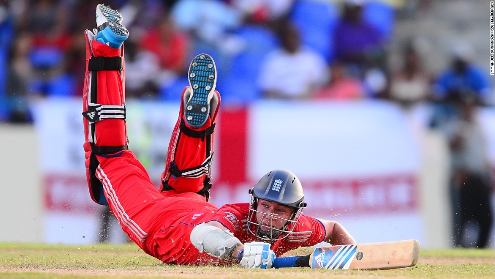 England captain Stuart Broad dives to safety during the second match of the One Day International series between the West Indies and England.
