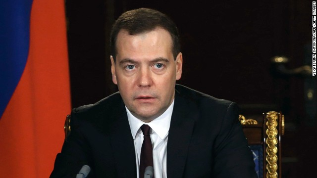 "Russia's Prime Minister  Dmitry Medvedev  speaks at meeting in the Gorki residence outside Moscow, on March 3, 2014. Ukraine's deposed president Viktor Yanukovych is still the legitimate head of state of the country even if his authority is ""negligible"",  Medvedev said today."