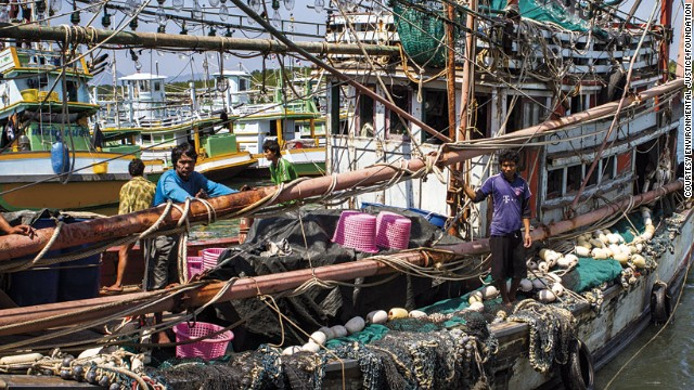 Thai fishing boats have to venture further for longer for less catch.