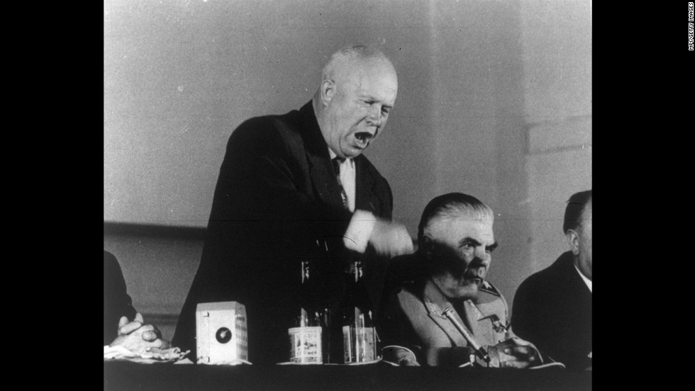 Soviet leader Nikita Khrushchev speaks at the 1960 Paris Summit, which was interrupted when an American high-altitude U-2 spy plane was shot down on a mission over the Soviet Union. After the Soviets announced the capture of pilot Francis Gary Powers, the United States recanted earlier assertions that the plane was on a weather research mission.