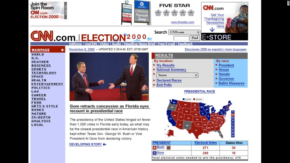 CNN.com only started to gain serious traction during the 1996 presidential election. By the 2000 election, seen here, the website was in full swing.