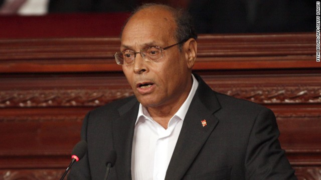 Tunisian President Moncef Marzouki addresses the parliament at the national assembly in Tunis on February 7, 2014.