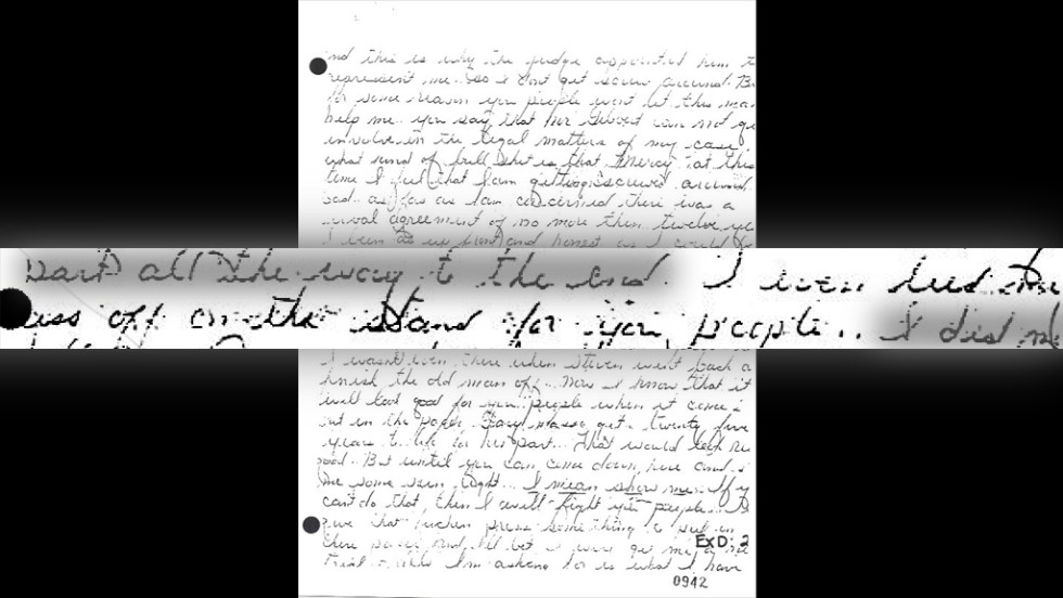 "Another letter uncovered during the investigation was written by Masse and dated April 21, 1986, which was after Killian's trial. According to the Ninth Circuit Court of Appeals, the letter reflects ""Masse's state of mind during his testimony. This letter states flatly: 'I gave you DeSantis and Killian. ... I even lied my ass off on the stand for you people.'"" See Masse's <a href=""http://i2.cdn.turner.com/cnn/2014/images/03/06/masse-letter.pdf"" target=""_blank"">handwritten letter</a> and the official <a href=""http://i2.cdn.turner.com/cnn/2014/images/03/06/transcript-masse-letter.pdf"" target=""_blank"">transcript of the letter</a>."