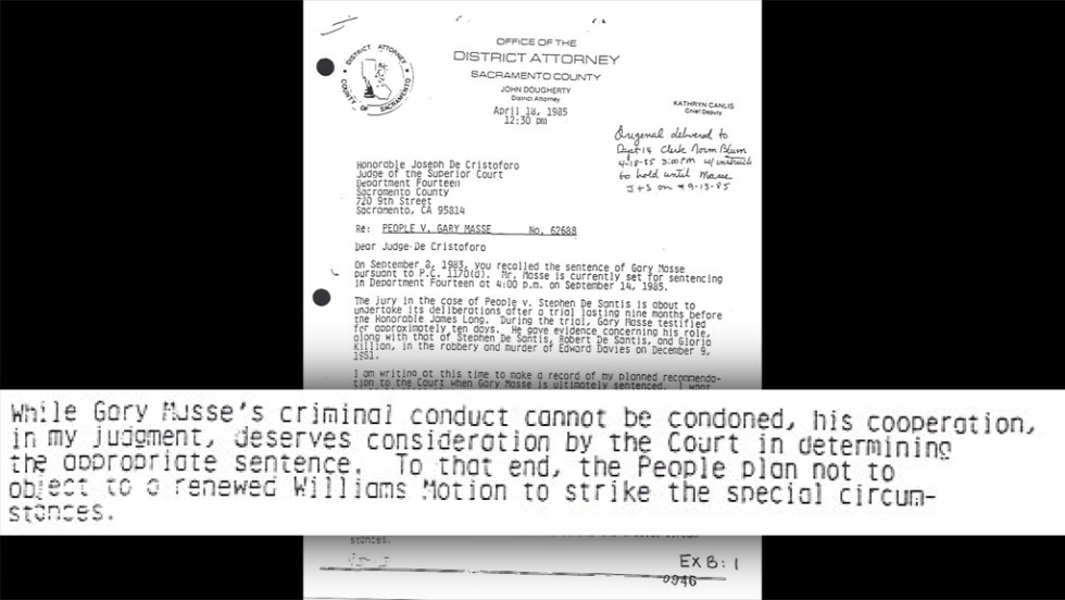 "Ride's investigator <a href=""http://i2.cdn.turner.com/cnn/2014/images/03/11/cleland.letter.to.judge-2.pdf"" target=""_blank"">uncovered this letter by the prosecution dated April 1985</a>, ""in which the government stated its intention to support Masse's resentencing as a result of his cooperation,"" the appeals court wrote. The letter would ""have been valuable to the defense in impeaching Masse's credibility before the jury."" But prosecutors didn't share the letter with Killian's lawyers. Masse's ""cooperation ... deserves consideration by the Court in determining the appropriate sentence,"" the letter says."