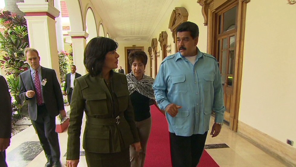 Shooting Christiane Amanpour's interview with Venezuelan President Maduro took us a week, with a crew of almost a dozen people. Senior Producer Ken Olshansky shows us some (literal) snapshots of some of the moments leading up to the broadcast.<br /><br />Here, Christiane walks with President Maduro. Walking behind them is Maduro's very skilled interpreter, Maria, who also worked for the late President Hugo Chavez.