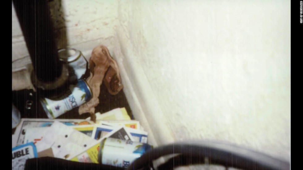 This police crime scene photo shows a blood-soaked bandage found in D'Ambrosio's apartment.