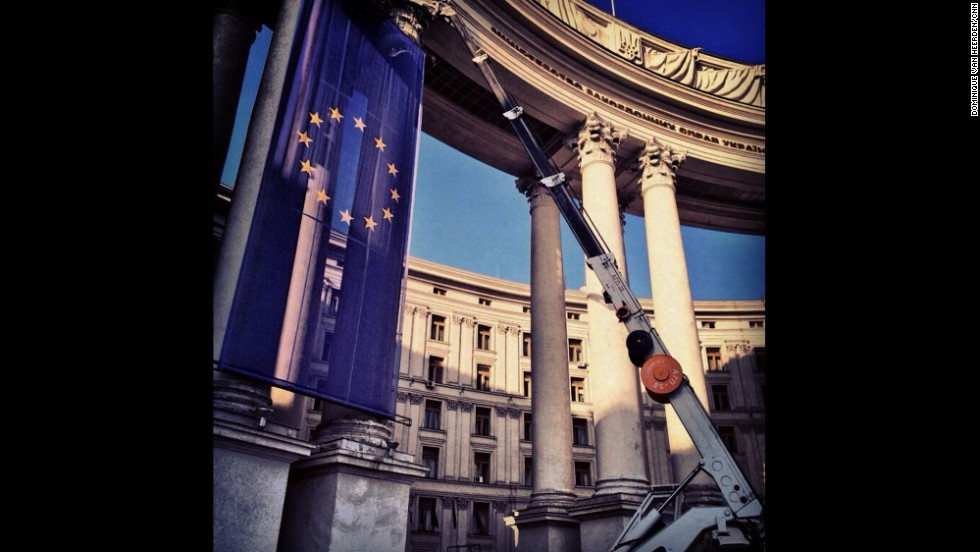 "KIEV, UKRAINE:  A giant EU flag is hung outside the foreign ministry building in Kiev on March 7.  Photo by CNN's Dominique Van Heerden.  Follow Dominique on Instagram at <a href=""http://instagram.com/dominique_vh"" target=""_blank"">instagram.com/dominique_vh</a>."