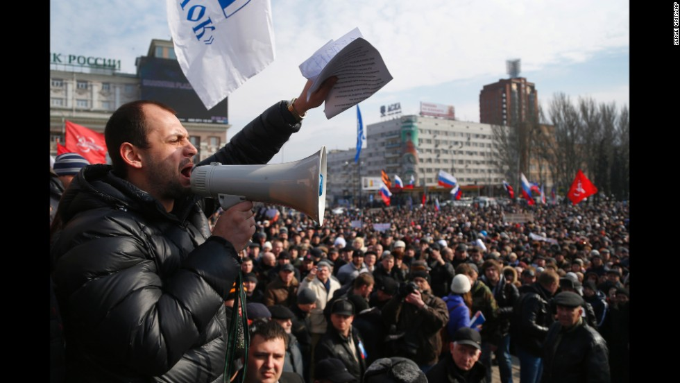 People shout slogans during a pro-Russia rally in Donetsk on Sunday, March 9.