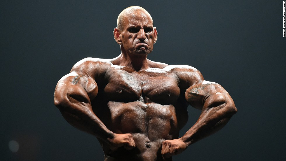Luke Timms poses during the IFBB Australian Pro Grand Prix XIV bodybuilding competition on Saturday, March 8.