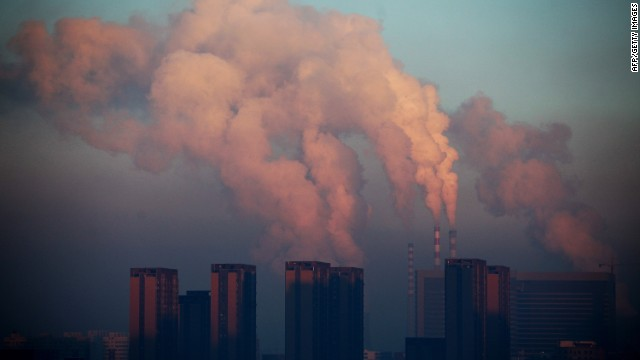 This picture taken on January 22, 2013 shows a thermal power plant discharging smog into the air in China.
