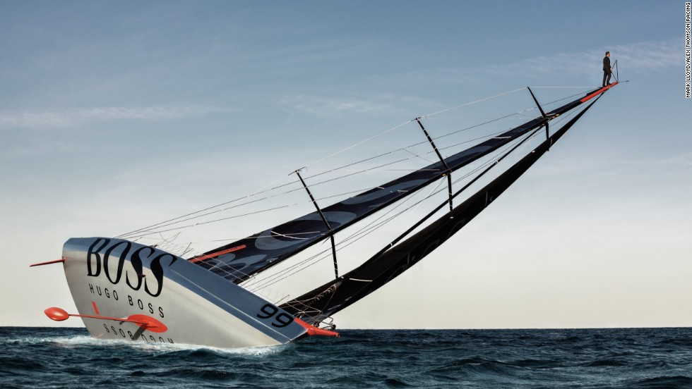 British sailor Alex Thomson is famous for his eye-catching stunts, including this audacious mast walk.