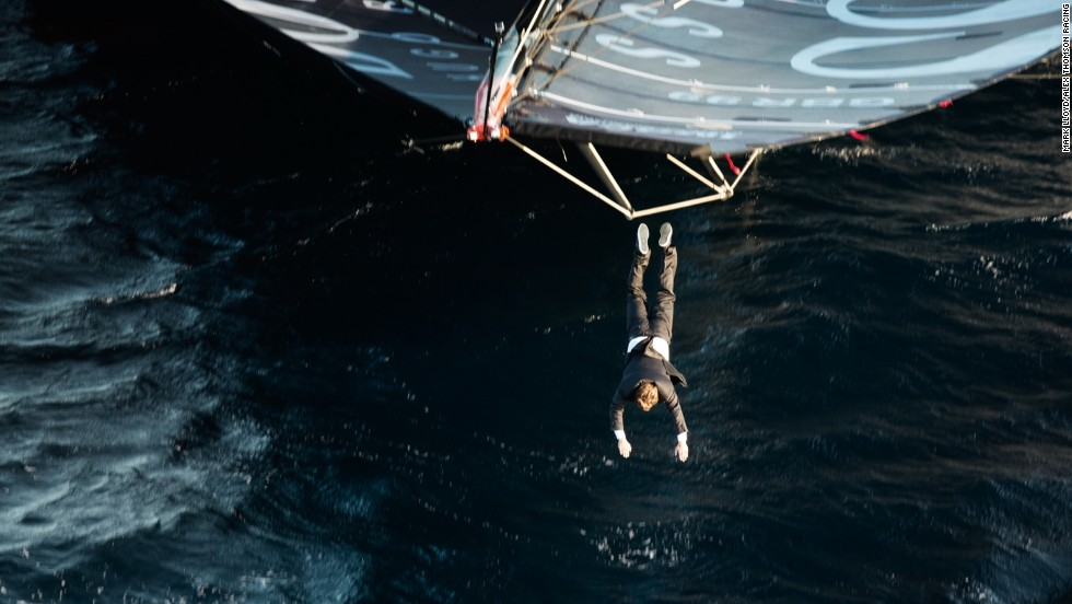 Thomson launches himself off the mast and into the water below having never performed a dive of such magnitude in his life before.