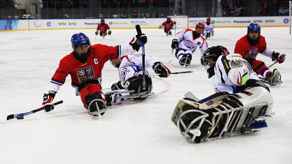 Zdenek Safranek of the Czech Republic shoots for goal during an ice sledge hockey game against South Korea on March 12.
