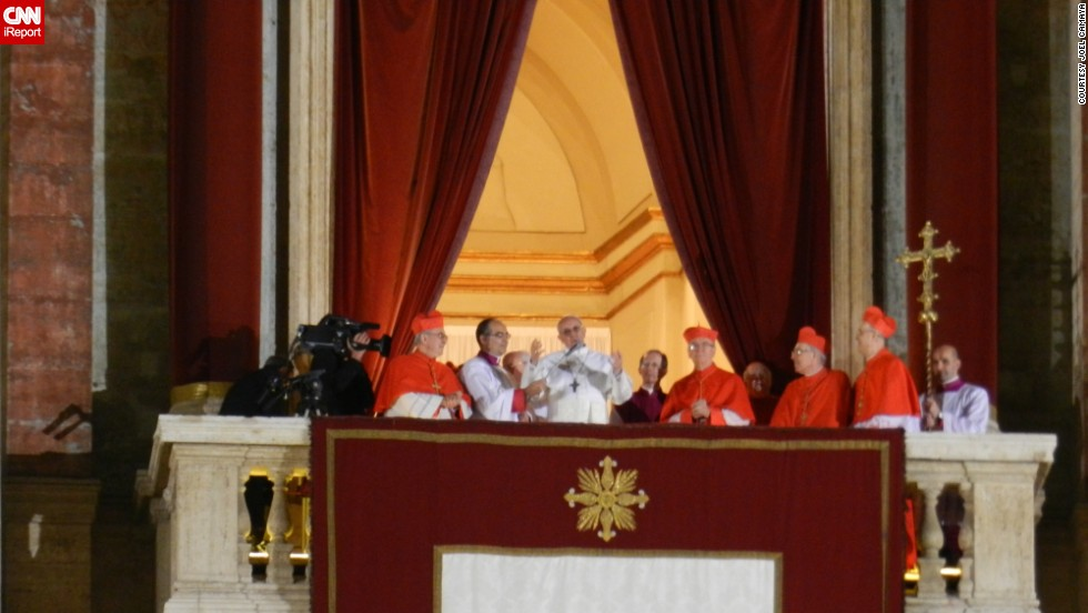 The new pope addresses assembled onlookers on the night of his selection.