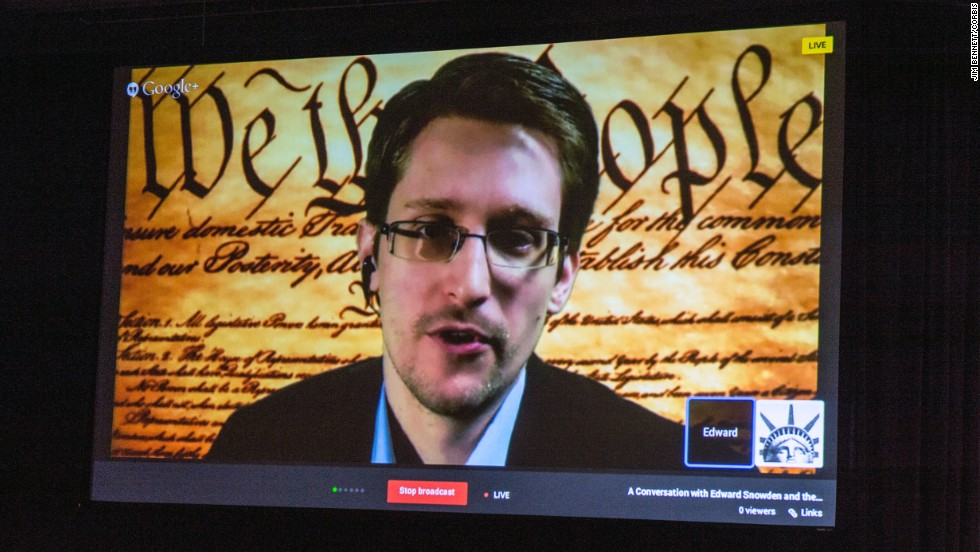 "<a href=""http://www.cnn.com/2014/03/10/tech/web/edward-snowden-sxsw/index.html "">Edward Snowden speaks via teleconference</a> Monday, March 10, at the South by Southwest Interactive Festival in Austin, Texas. The event marked the first time the former National Security Agency contractor has directly addressed people in the United States since he fled the country with thousands of secret documents in June."