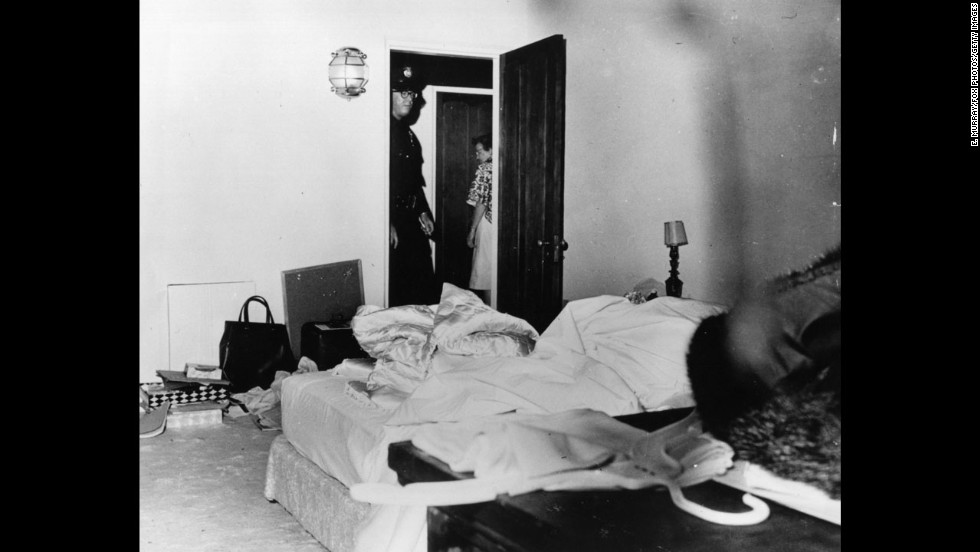 "The Los Angeles County coroner ruled that actress Marilyn Monroe's death in this room was a ""probable suicide"" from an overdose of barbiturates. Despite the official conclusion, questions have lingered for decades about Monroe's death in August 1962. She was 36."