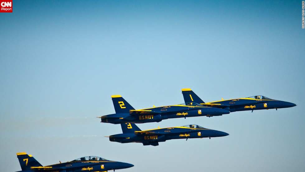 "Alabama dad <a href=""http://ireport.cnn.com/docs/DOC-947626"">Ditto Gorme</a> visited the Naval Air Station in Pensacola to photograph the Blue Angels practicing in March 2013, shortly before the team was grounded."