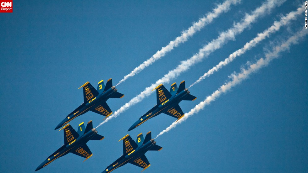 """Every year, we always go to the airshow here in Pensacola,"" Gorme said. When he learned the shows would be canceled, he said, he decided to go watch one of the remaining practice sessions. ""It was packed with fans like it was a regular show."""