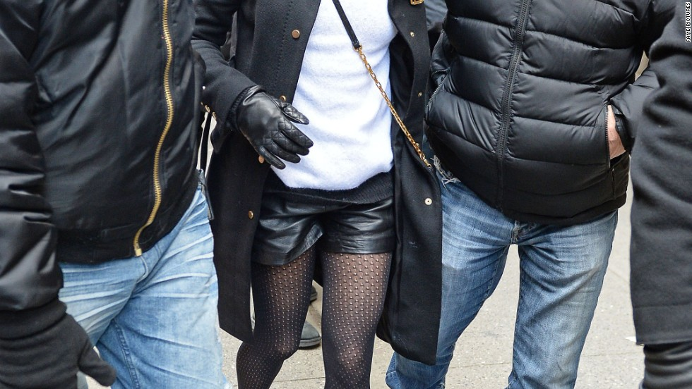 "Lea Michele films ""Glee"" in New York on March 13."