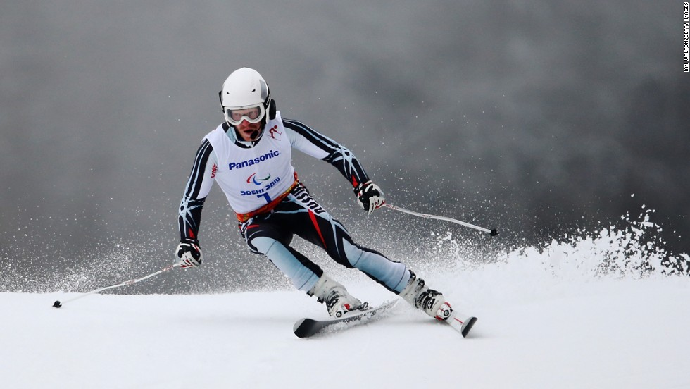 Ivan Frantsev of Russia competes in the men's giant slalom visually impaired on March 15.