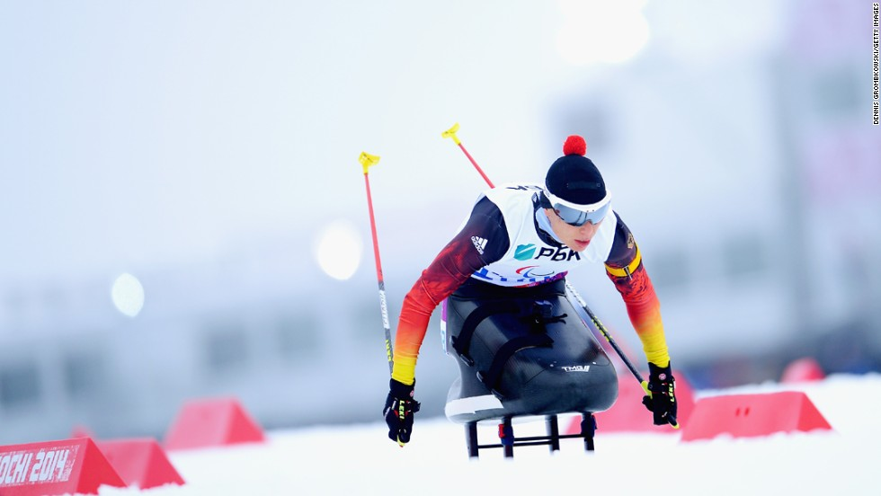 Andrea Eskau of Germany competes in the women's 12.5-kilometer sitting biathlon on Friday, March 14.