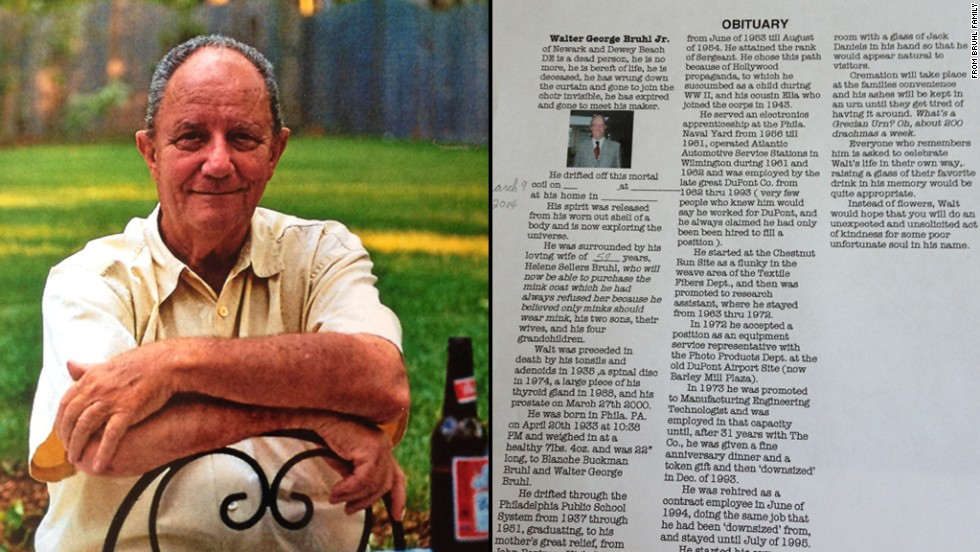Delaware grandfather pens his own humorous obituary