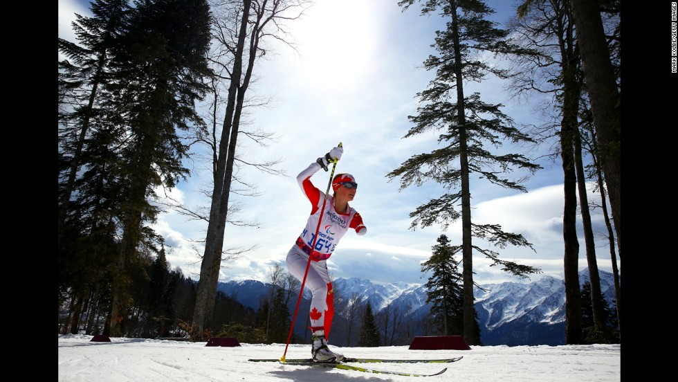 Brittany Hudak of Canada competes in the women's cross-country 5-kilometer free standing event.