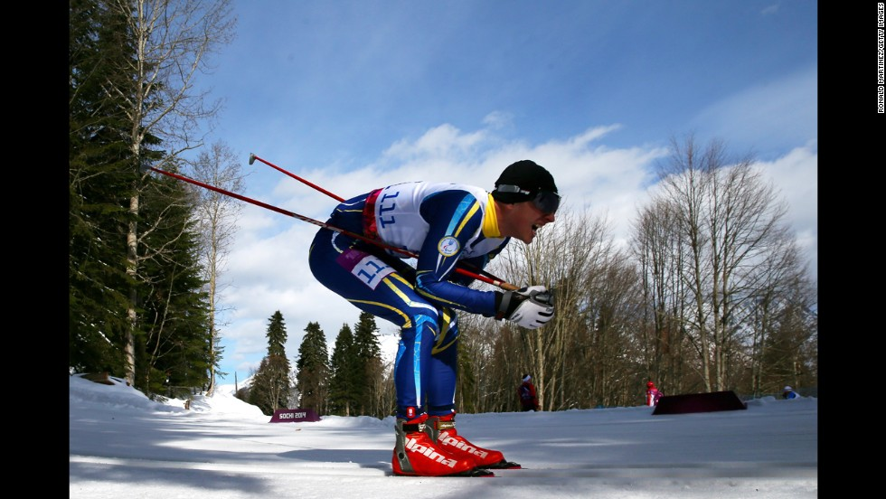 Vladimir Udaltcov of Russia competes in the men's cross country 10-kilometer free visually impaired event on March 16.