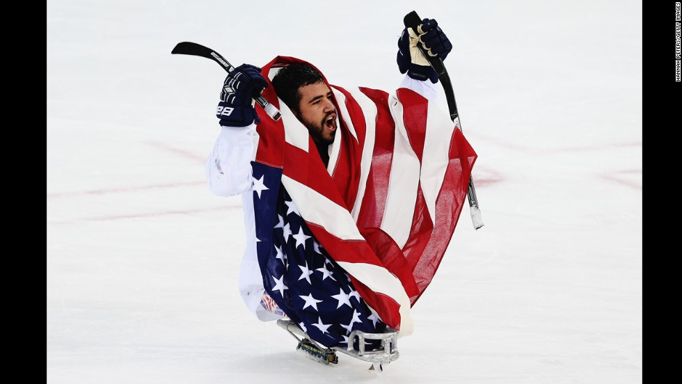 Nikko Landeros of the U.S. celebrates after winning the ice sledge hockey gold medal game against the Russian Federation on March 15.
